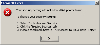 VBA Updater Error Message